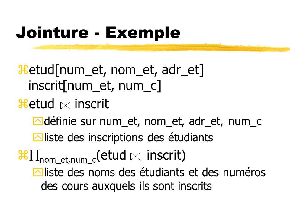 Jointure - Exemple etud[num_et, nom_et, adr_et] inscrit[num_et, num_c]